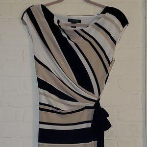 LRL striped faux wrap swoop neck sleeveless dress